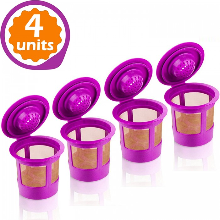 GoodCups 4 Reusable K Cups for Keurig K-Duo, K-Classic, K-Elite, K-Select, K-Cafe, K-Compact, 2.0 and 1.0 Brewers