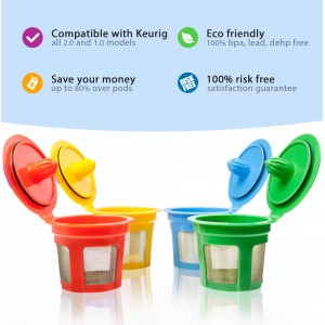 GoodCups 4 Color Reusable K Cups for Keurig K-Duo, K-Classic, K-Elite, K-Select, K-Cafe, K-Compact, 2.0 and 1.0 Brewers