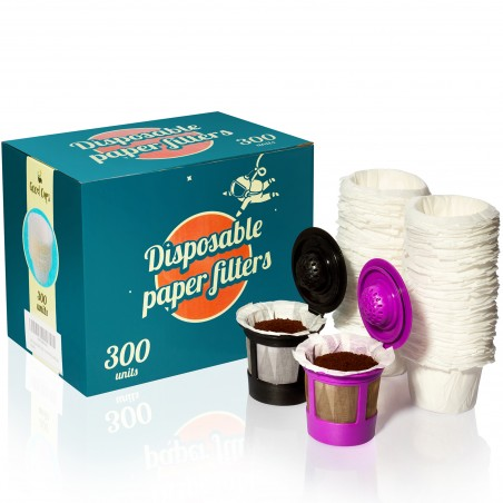 300 Disposable Paper Filters for Keurig Reusable K Cups Filters and Other Single Serve Refillable Capsules