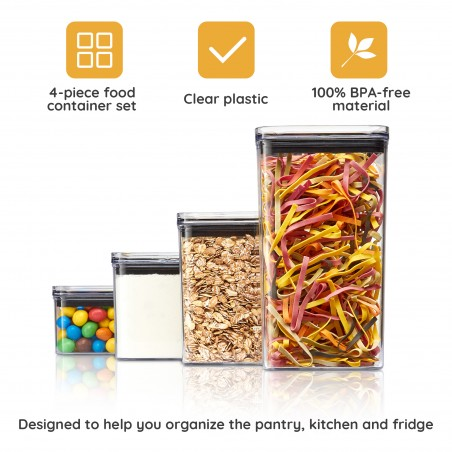 Airtight Food Storage Containers for Kitchen - Set of 4 - Kitchen Pantry Organization and Storage Containers