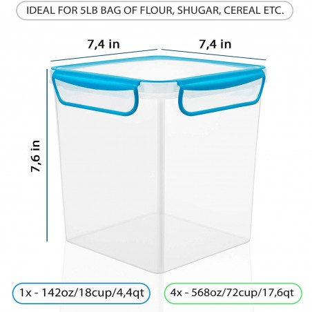 GoodCups 4 Large AirTight Food Storage Containers for Flour, Sugar, Dry Food etc. 142oz/18cup/4,4Qt