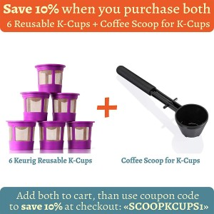 GoodCups 6 Reusable K Cups for Keurig K-Duo, K-Classic, K-Elite, K-Select, K-Cafe, K-Compact, 2.0 and 1.0 Brewers